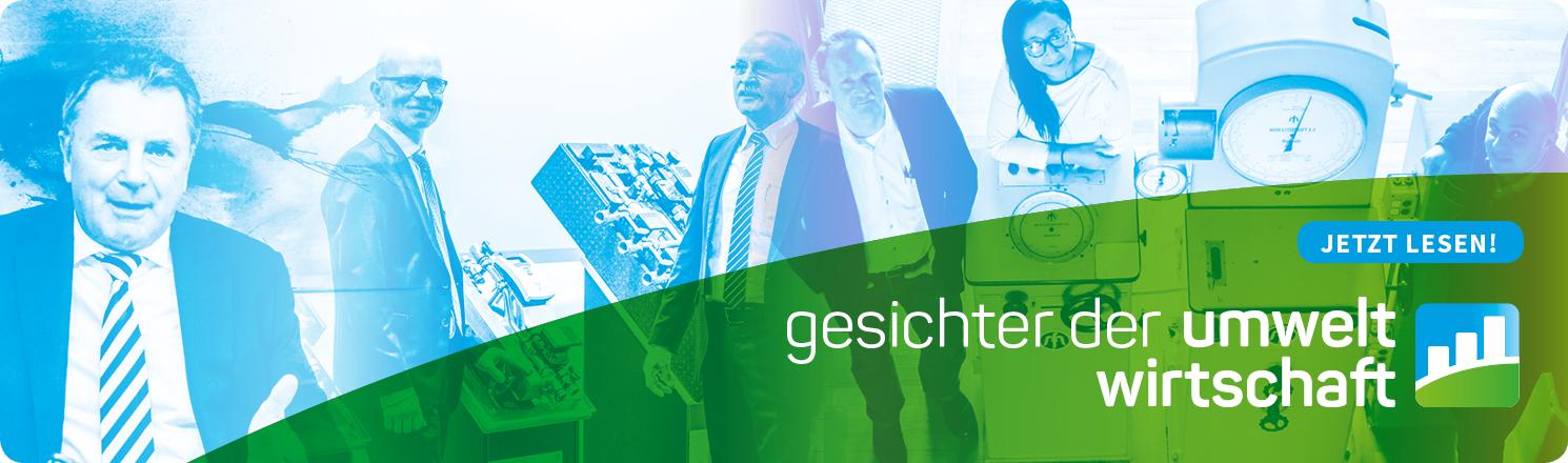 Verschiedene Personen aus NRW-Unternehmen sowie der Schriftzug: Gesichter der Umweltwirtschaft - jetzt lesen!