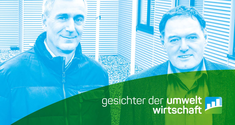 """Die Geschäftsführer, davor der Schriftzug """"Gesichter der Umweltwirtschaft"""""""