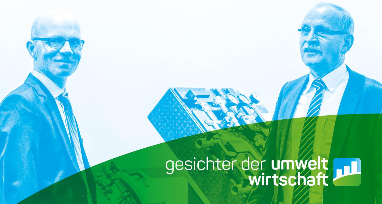"""Farbverfremdetes Titelbild mit Schriftzug """"Gesichter der Umweltwirtschaft"""""""