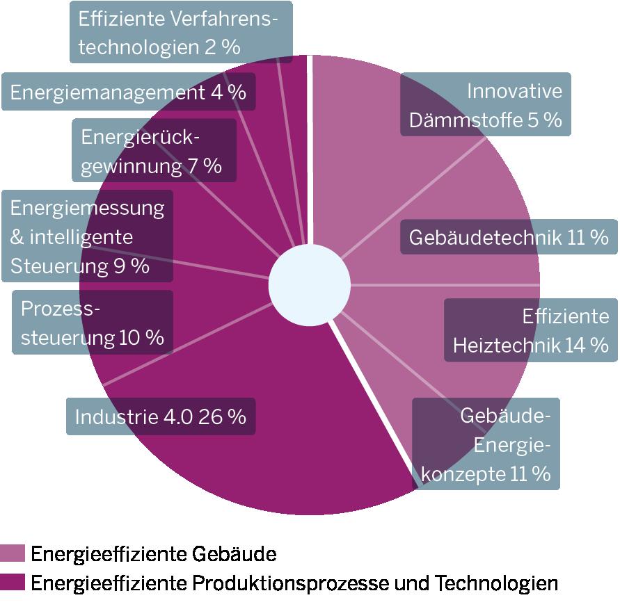 Die Grafik zeigt Innovationsschwerpunkte im Teilmarkt Energieeffizienz und Energieeinsparung