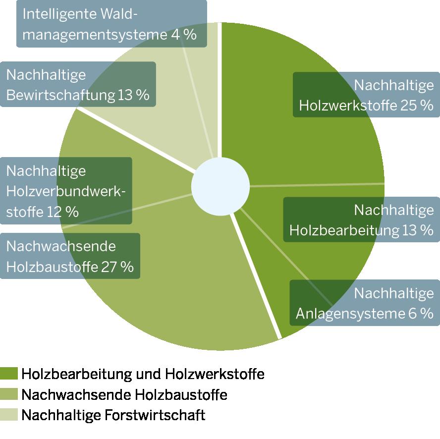Die Grafik zeigt Innovationsschwerpunkte der Nachhaltigen Holz- und Forstwirtschaft