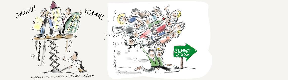 Handgezeichnete Karikaturen zur Veranstaltung