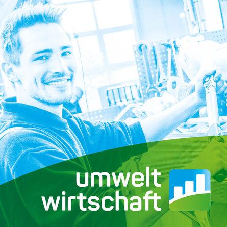 Farbverfremdetes Bild eines jungen Mannes an der Werkbank mit dem Logo Umweltwirtschaft NRW.